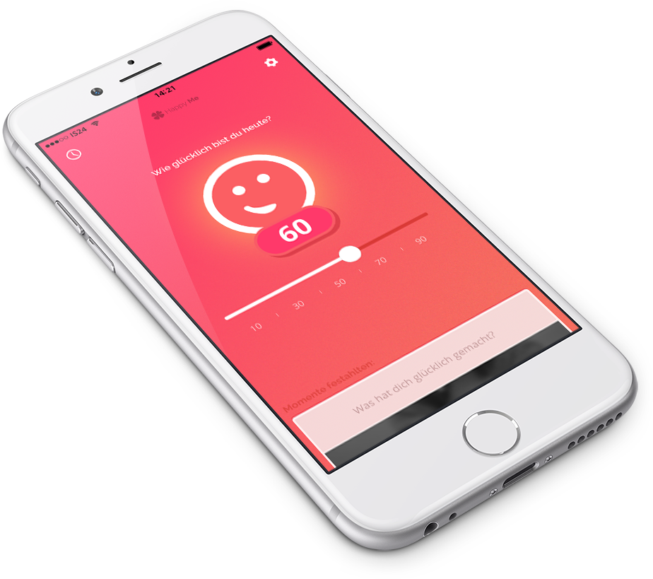 Mockup of HappyMe iOS App